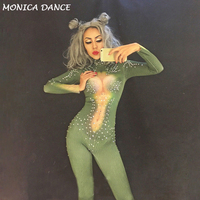 Sexy Stage Bodysuit Sparkling Crystals Stones Jumpsuit for Singer Christmas Celebrate Nightclub Performance Stage Costume Outfit