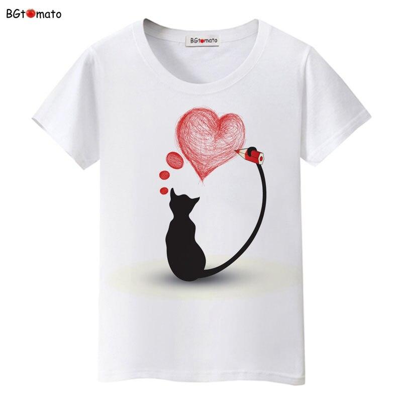 Bgtomato preto gato rosa amor camiseta mulher história de amor literatura e arte camisas de boa qualidade marca roupas casuais topos