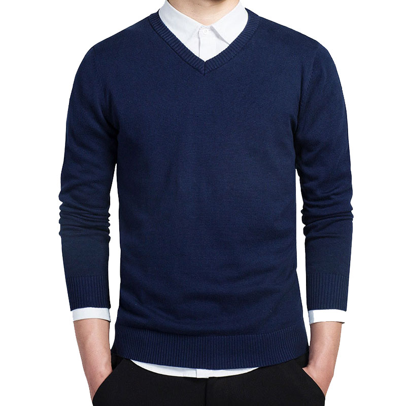 2019 New Autumn V Neck Men Casual Sweaters Pullover Cotton Long Sleeve Slim Fit Mens Sweaters ABZ486