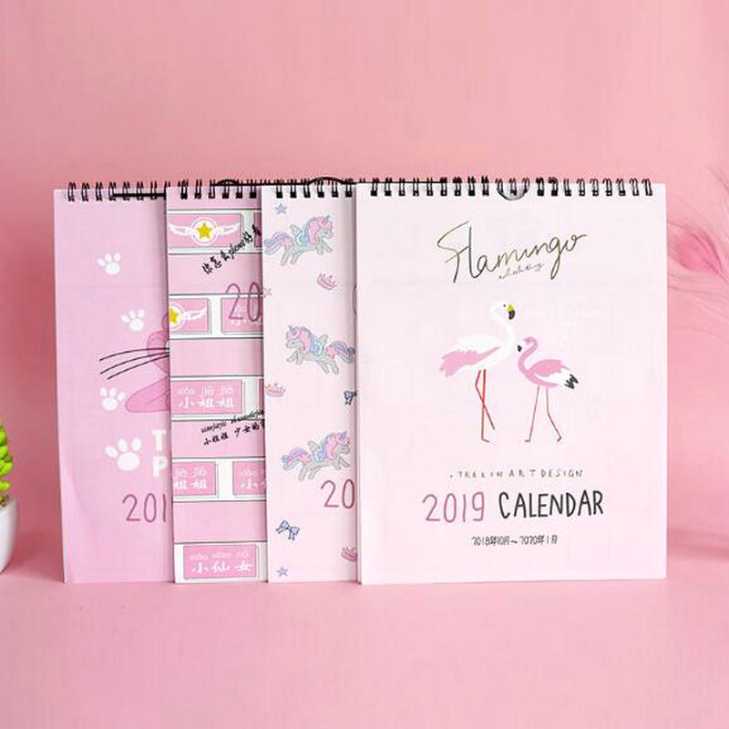 Calendar 1 Piece 24.8cm Big Size 2019 Flamingo Calendar Office Stationery Desk Notebook Holiday Promotion Gift Girls Birthday Gift Office & School Supplies