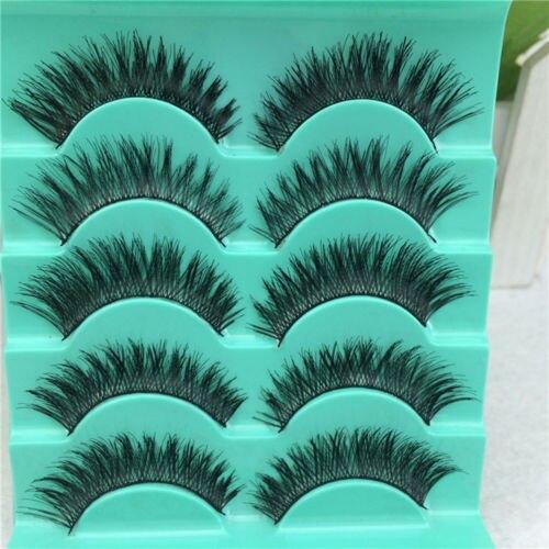 Popular 5 Pairs/set Natural Long False Eyelashes Handmade Cross Messy Eye Lashes Makeup Tools
