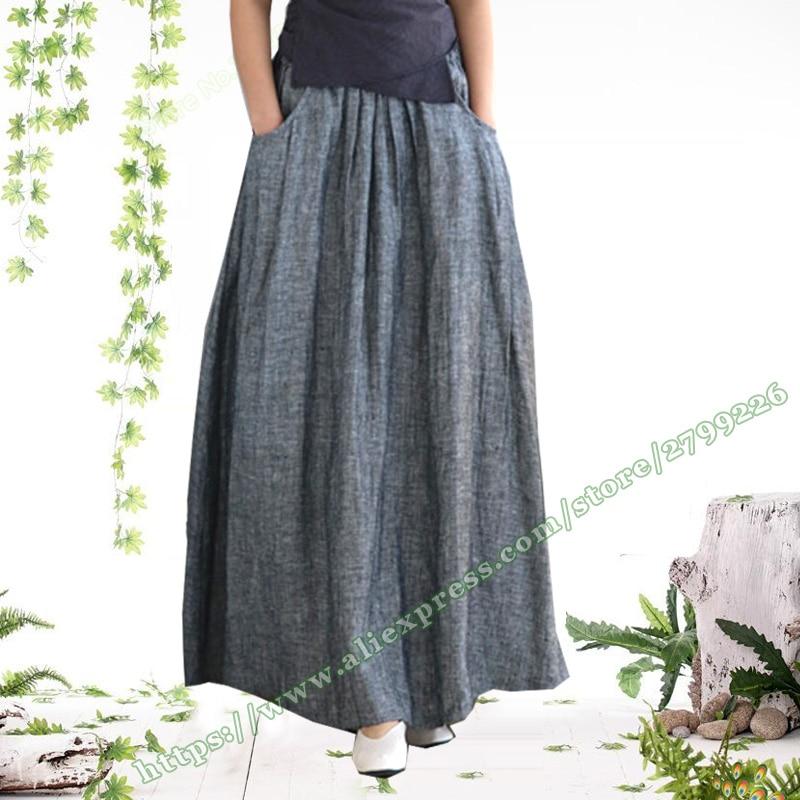 2018 Plus Size 4XL 3XL 5XL XXXXXL Vintage Fashion Casual 100 Linen Big Pocket Gray Female