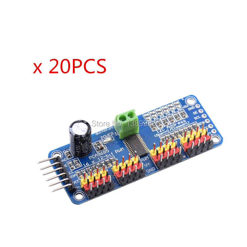 20pcs/lot 16 Channel 12-bit PWM/Servo Driver-I2C interface PCA9685 module for arduino or Raspberry pi shield module servo shield