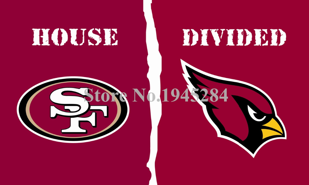 NFL Arizona Cardinals San Francisco 49ers House Divided Flag 3x5ft 150X90cm Polyester Flag Banner, free shipping