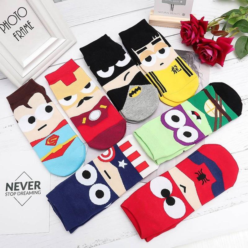 Hot Sale Men Socks Cotton Superman Cute Printed Mens And Male Short Colorful Breathable Cartoon Socks
