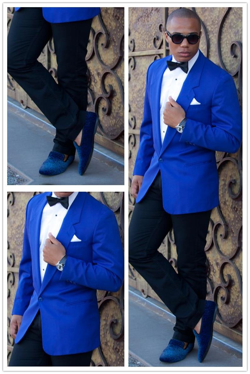 2016 Custom Made Blue Blazer Black Pants 2 Pieces Mens
