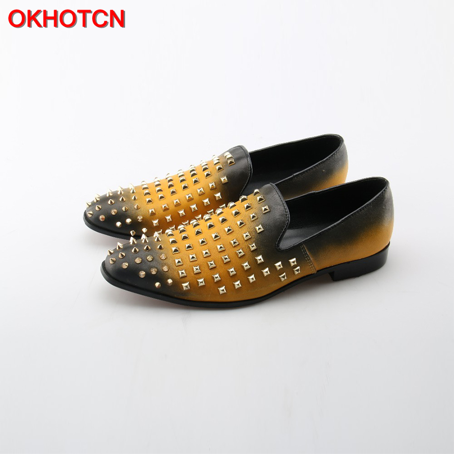OKHOTCN 2018 New Men Cow Leather Casual Shoes Fashion Mixed Colors casual shoes Gold Rivets Studded Men's Driving Flats Shoes 2017 new spring imported leather men s shoes white eather shoes breathable sneaker fashion men casual shoes
