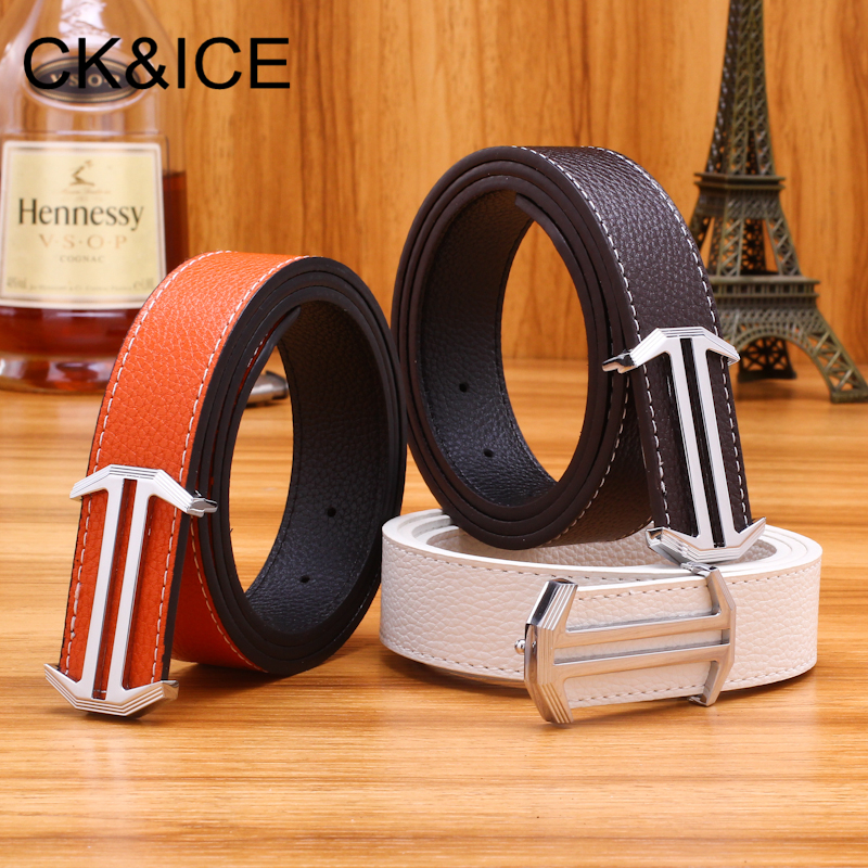 CK&ICE 2018 New Designer Mens Leather Belt Causal Fashion Alloy H Smooth Buckle Belts Luxury Business Brand Waistbelt For Men