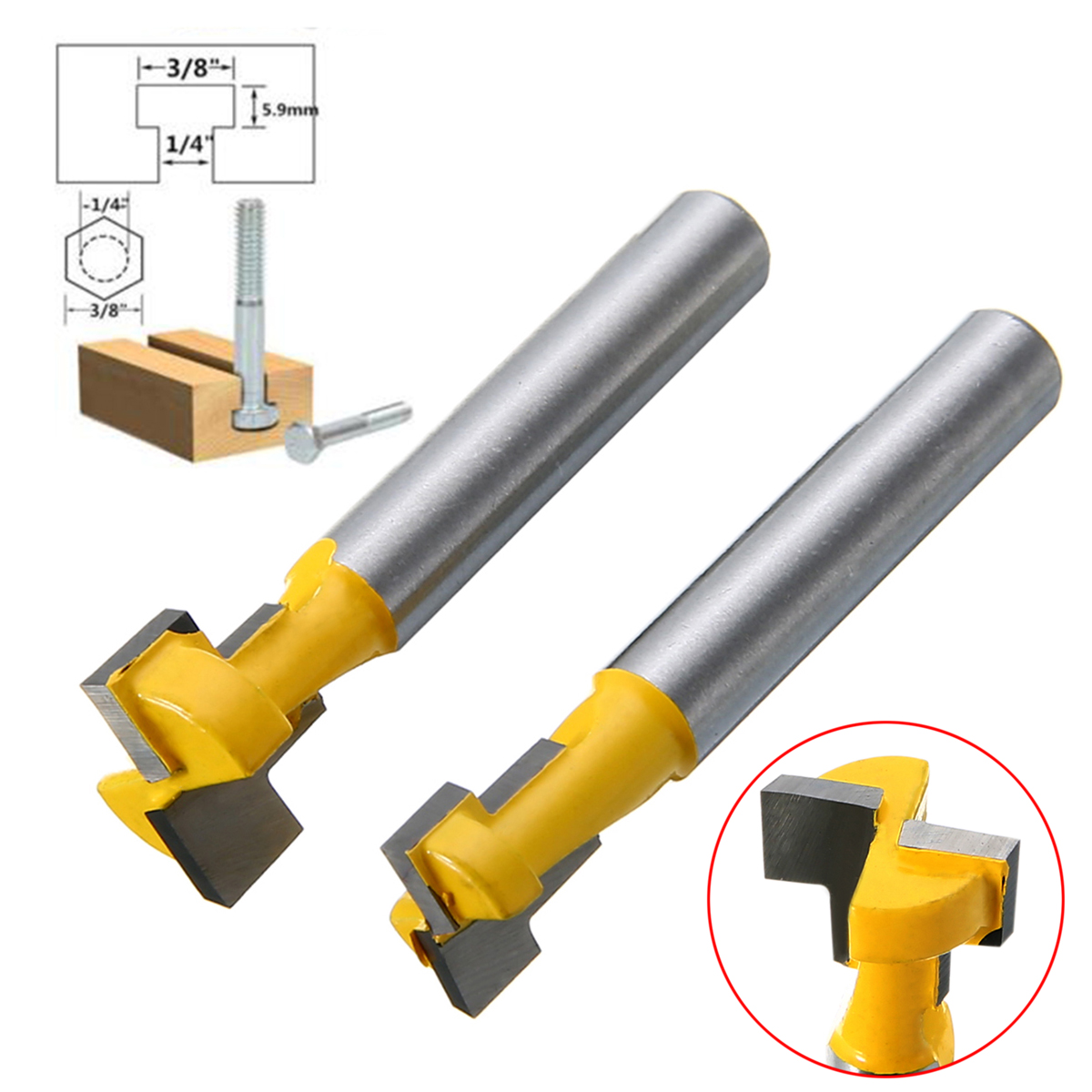 2Pcs 3/8'' & 1/2'' T-Slot Wood Milling Cutter 1/4'' Shank Steel Handle Router Bits For DIY Wood Working Tools  1 2 2 50 8mm milling cutter for drawer wood plug wood milling cutter