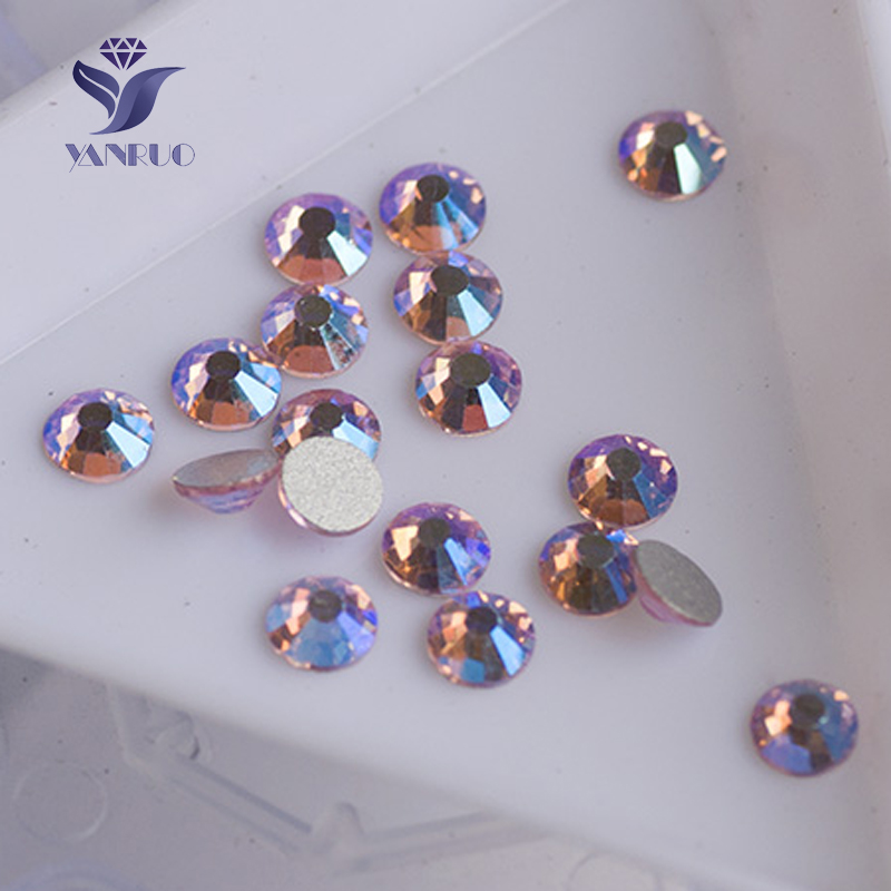 YANRUO #2058NoHF All Sizes Lt.Rose AB Top Quality Non Hotfix Flatback Glue On Strass Glass Crystal Nail Art Rhinestone