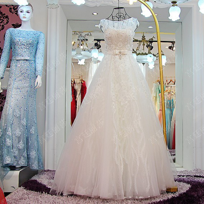 Hot Selling Pearls Crystal Wedding Dress 2017 Plus Size Lace ...