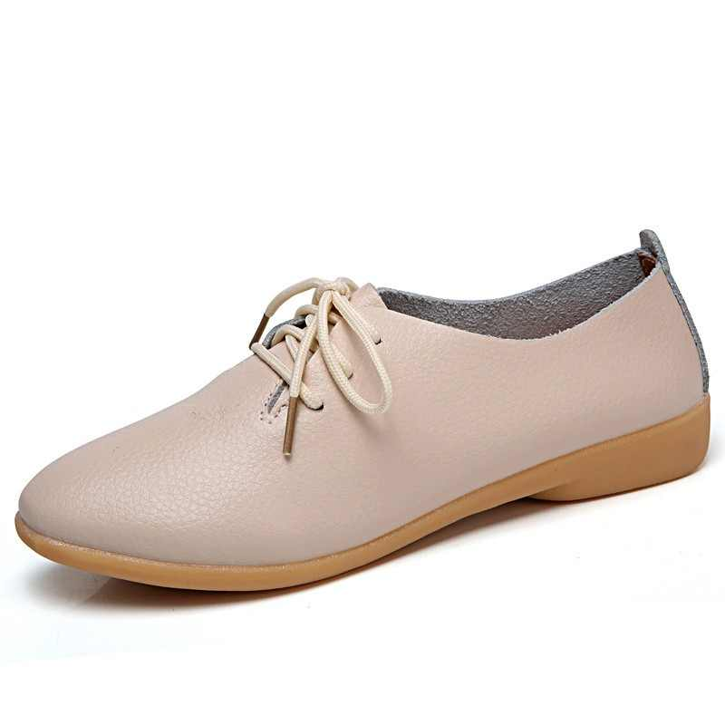 0a1ff85da Mstacchi 2018 Woman Ballet Flats Pointed Toe Shoes Solid Real Leather Lace  Up Shoes Fashion Leisure