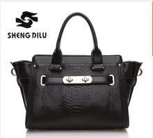 2015 Vintage 6 Color Serpentine Portable Bags Fashion Trapeze Bag Elegant Women's Genuine Leather Handbags