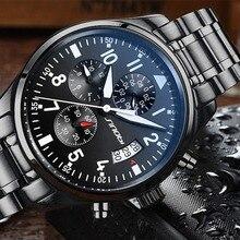 SINOBI كرونوغراف الرجال ساعة اليد مقاوم للماء العلامة التجارية الفاخرة الفولاذ المقاوم للصدأ الذكور ساعة كوارتز Relogio Masculino دروبشيبينغ