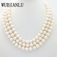 WUBIANLU Charming 9 10MM White South Sea Pearl Necklace 50 Inches Chokers Necklaces For Womens Costume Jewelry Pearls Wholesale