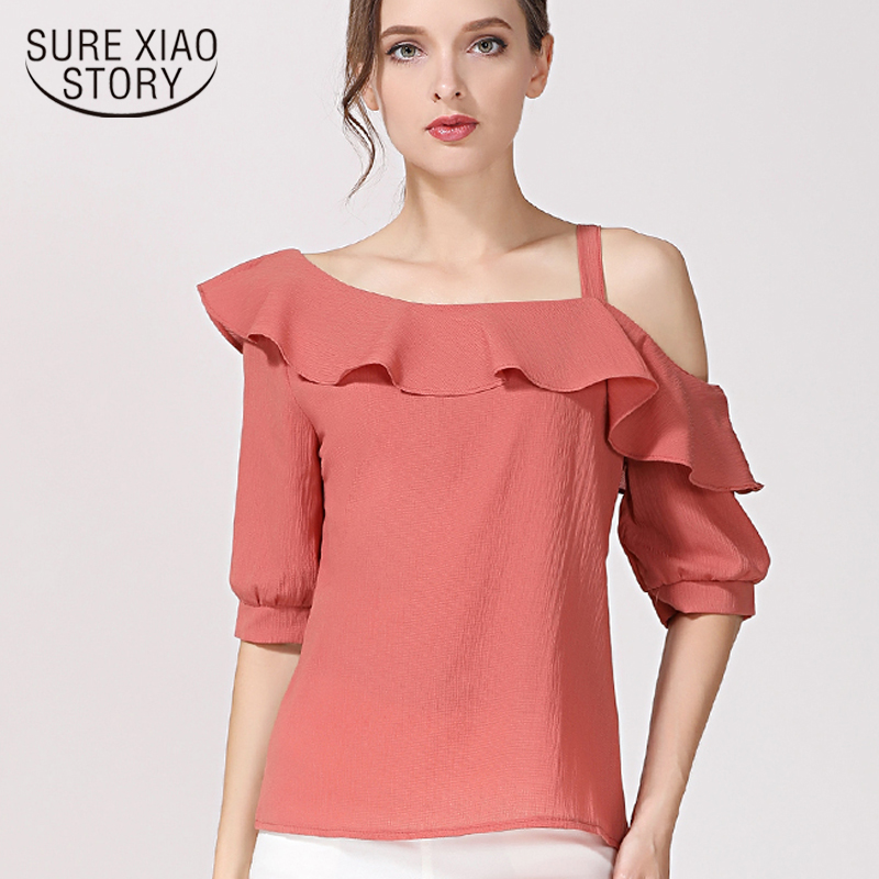 2018 hot sale chiffon women   blouse     shirts   elegant solid color ladies clothing short sleeve summer fashion women's tops 123J 30