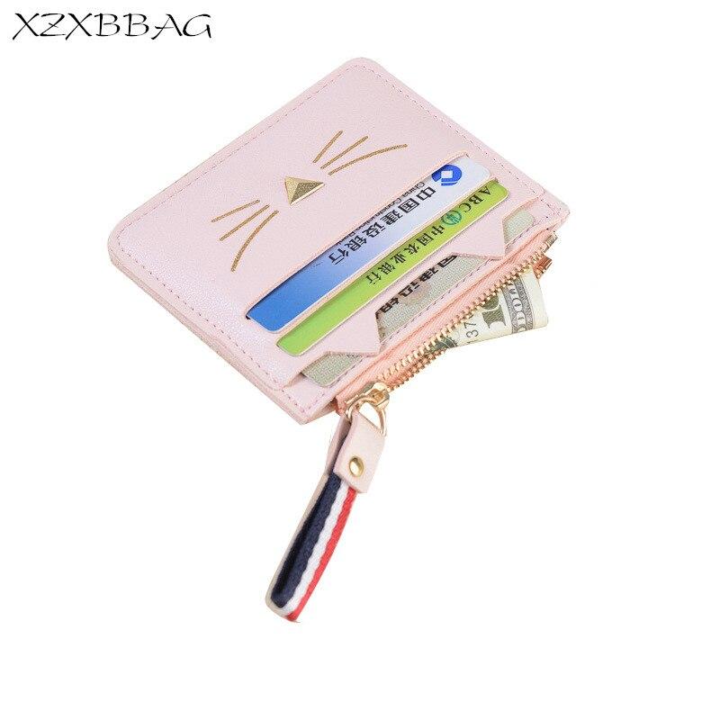XZXBBAG Casual Cartoon Cat Women Small Wallet Student Girl Cute Multiple Card Holder Coin Purse Female Zipper Short Money Bag