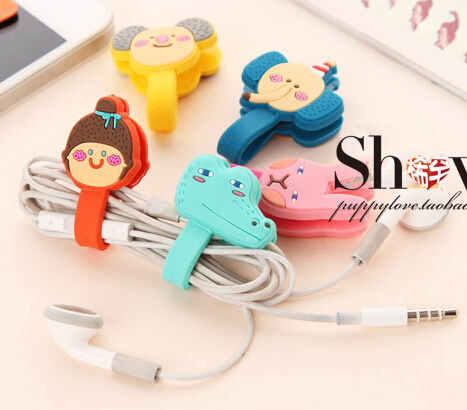 [4Y4A] 5pcsLot cartoon lovely finishing headphone cable power line button-type office