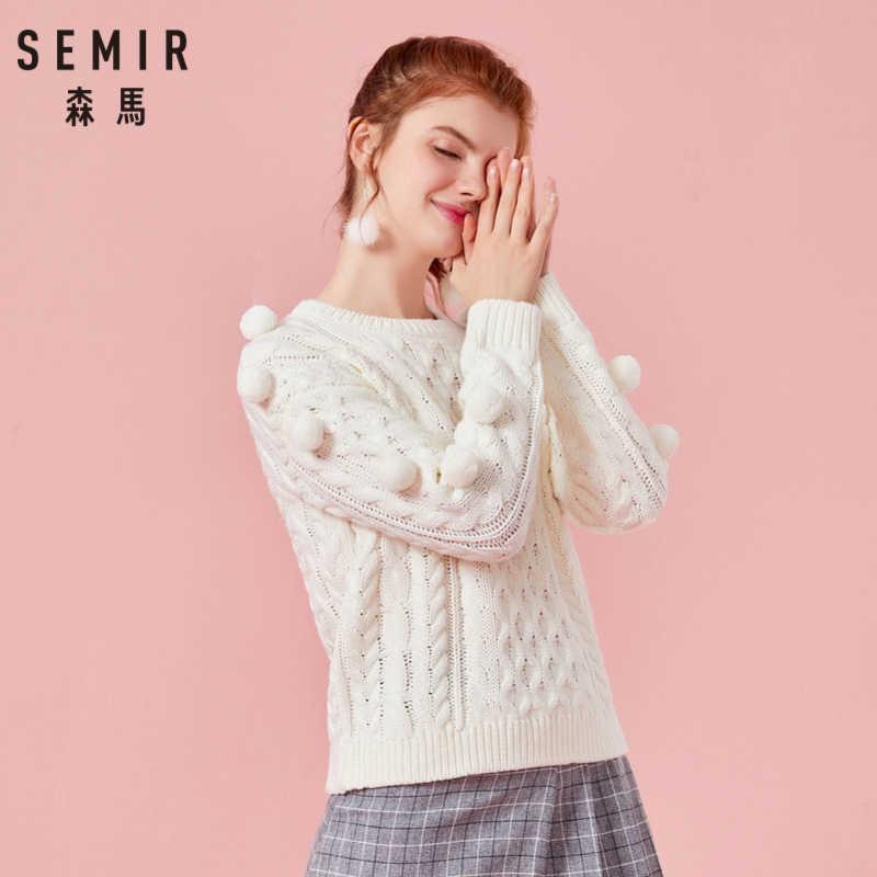 Suéter de punto de mezcla de lana de SEMIR para mujer con pompones en La Manga jersey con hombros descubiertos para mujer con acanalado cuello redondo