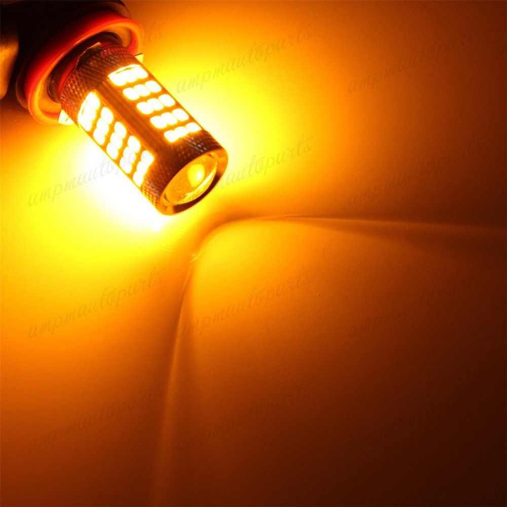 66 SMD 2835 LED 9005 HB3 P20d przeciwmgielne światło zmieni kolor na wskaźnik sygnału żarówka lampa tylna samochodów 12V SMD żółty bursztyn