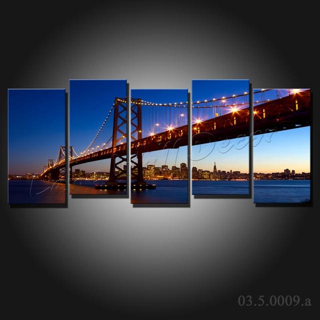 No Frame 5 Pieces Canvas Painting San Francisco Golden