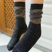 1 Pair Fashion Cotton Socks Autumn Glitter Long Women Girl Shiny Loose Voile Pile of gold and silver socks  Small