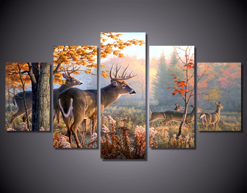 5-Pieces-Canvas-Art-Wall-Painting-Decorative-Animal-Deer-Modular-Picture-For-Living-Room-Home-Decor