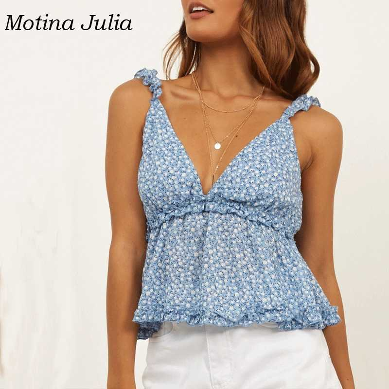 Motina Julia 2019 летние цветочные топы с принтом Топы boho пляжная Женская жилетка, топик уличная одежда