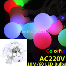 10M String of 60 Balls Christmas Multi Color Led Lights Fairy Lights BBQ Lights Home Party Decoration Light Free Shipping