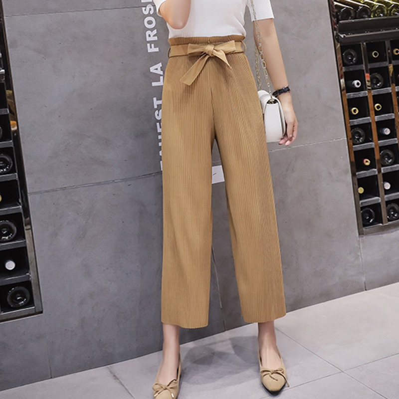 Spring   Wide     Leg     Pants   Vintage Casual   Pants   Women Pleated Trousers