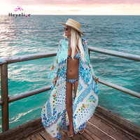 Sexy Chiffon Bikinis Cover Ups Long Sleeves Beach Dresses New Bohemia Summer Dresses Printed Beach Cover Up Beachwear