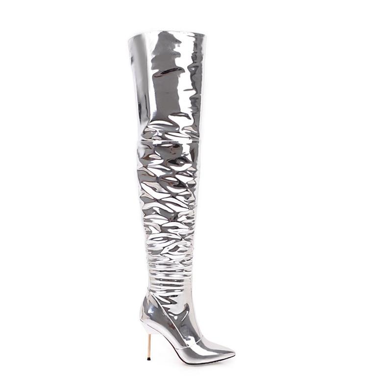 Fur Estrecha Rodilla Reave Femeninos Patente Sólido Bar Cat Partido Mujeres Punta Boot Stiletto A920 Pu Altos Zapatos silver Tacones Silver Cremallera SRzqrS
