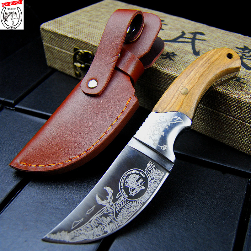 EVERRICH High quality Army Tactical Knife Camping Hunting Knife Shadow Wood Fixed Blade Knife Outdoor Survival Rescue EDC Tools(China)