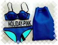 Free Shipping High Quality Bikini 1 Set TOP BOTTOM BAGS NEOPRENE HOLIDAY PINK TAGS