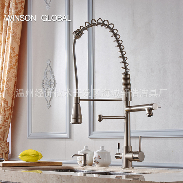 Brass Faucet Kitchen 4 Hole Sink Faucets Brushed Spring Pull Out Pot Filler 3 Sprayer Frap Hot Water Mixer Taps Icd60103
