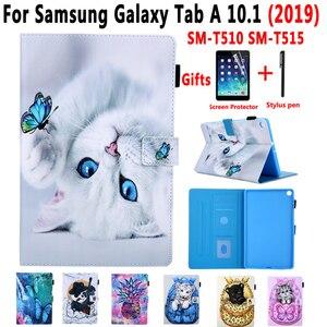 Image 1 - Coque souple antichoc pour tablette, support de chat peint, coque + Film + stylo, pour Samsung Galaxy Tab A 10.1 2019 SM T510 T510 T515 SM T515