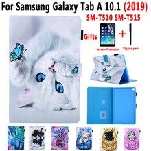 Cover Case Voor Samsung Galaxy Tab Een 10.1 2019 SM T510 SM T515 T510 T515 Geschilderd Kat Stand Soft Shockproof Tablet Shell + Film + Pen