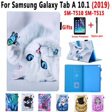 Cover Case for Samsung Galaxy Tab A 10.1 2019 SM T510 SM T515 T510 T515 Painted Cat Stand Soft Shockproof Tablet Shell +Film+Pen