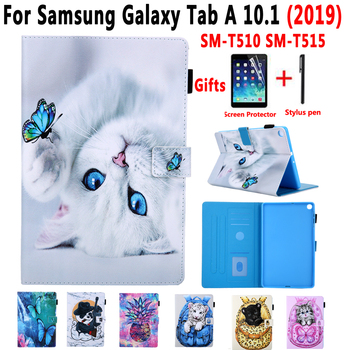 Cover Case for Samsung Galaxy Tab A 10.1 2019 SM-T510 SM-T515 T510 T515 Painted Cat Stand Soft Shockproof Tablet Shell +Film+Pen tablet case for samsung galaxy tab a 10 1 inch 2019 t510 fundas shockproof eva safe kids cover for sm t510 t515 protective case