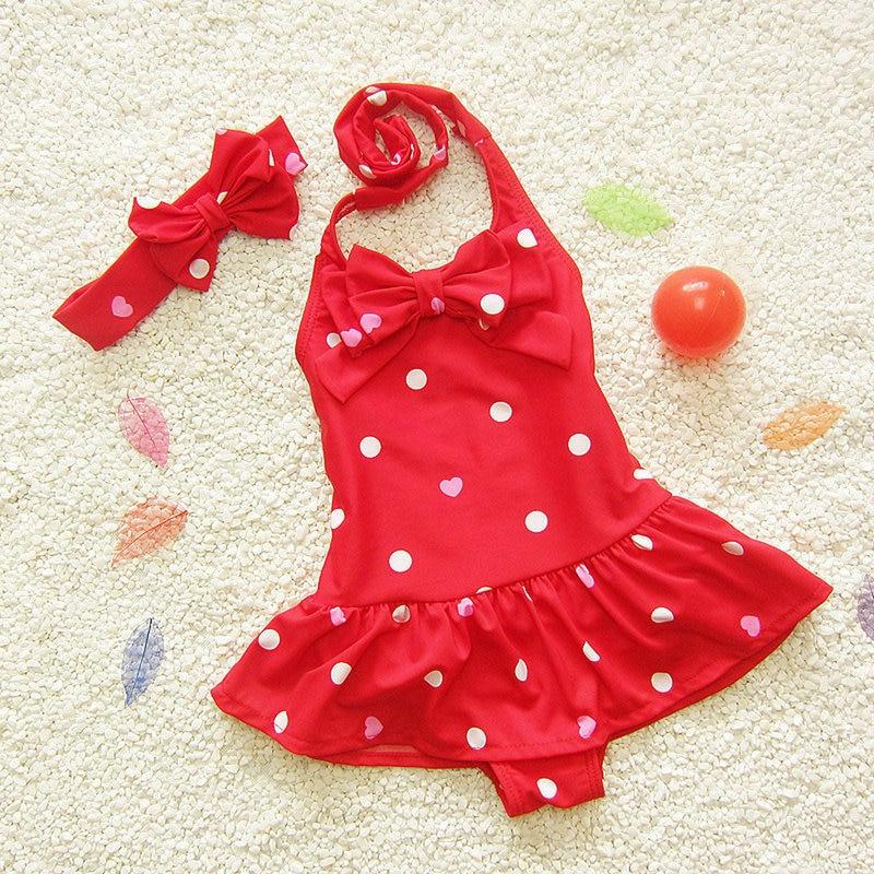 One-Piece Dots Printed Bow-Tie Ruffles Baby Girl Bikinis Biquini Cute Adorable Kids Child Swimwear Bath Spa beach Wearing Suit
