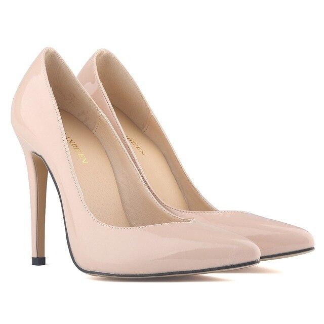 Красные нижние высокие каблуки туфли на высоком каблуке острым носом лакированной кожи тонкой черной обнаженная сексуальная женщин женская обувь