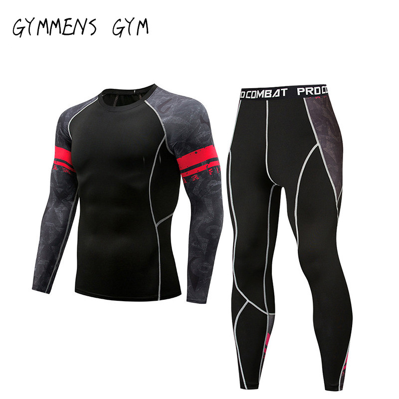 Compression Tights  Men's Sports Running Tights Suit Jogging Leggings Fitness Gym Clothing Sports Rashgard Sportswear Men's Suit
