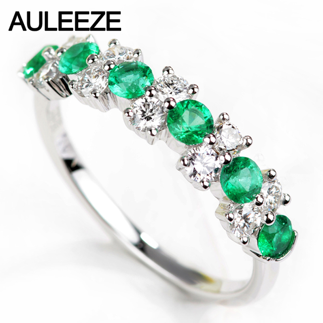 AULEEZE 18K Solid White Gold Natural Emerald Rings For Women Real