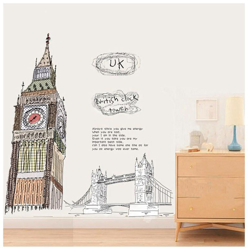 new100 100cm london big ben removable vinyl wall art decals tv sofa background decoration wall. Black Bedroom Furniture Sets. Home Design Ideas