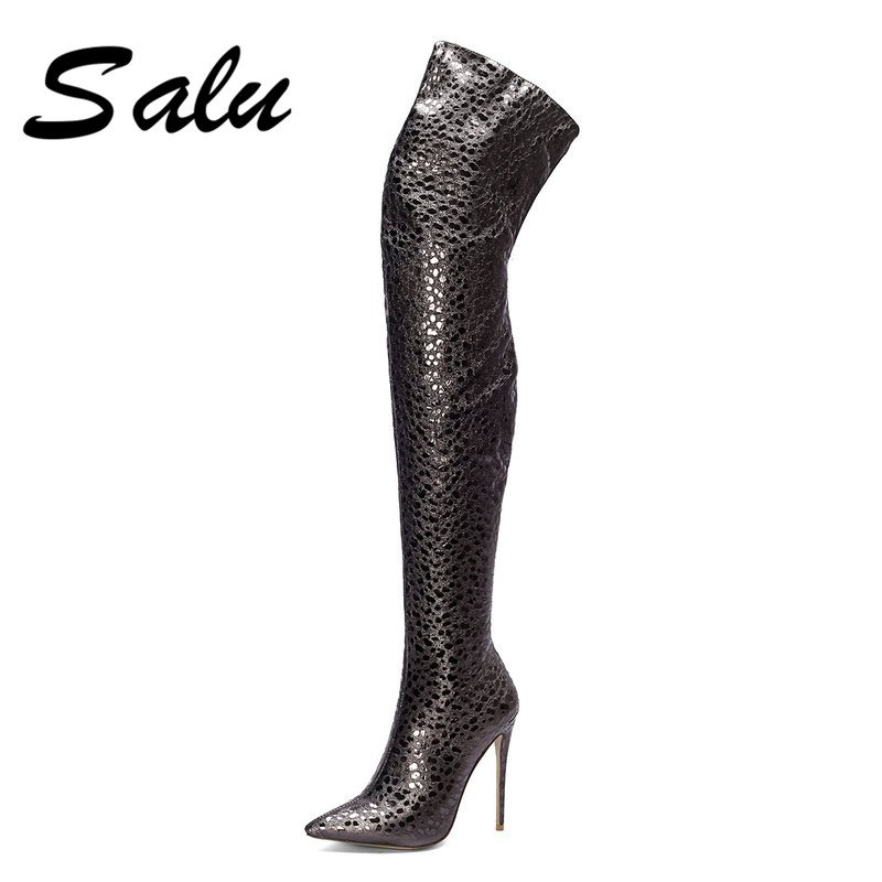 Salu Boots Black Pointed Toe Thin Heels PU+Leather Boots Women Handmade Irregular Top Knee-High Shoes For Autumn недорго, оригинальная цена