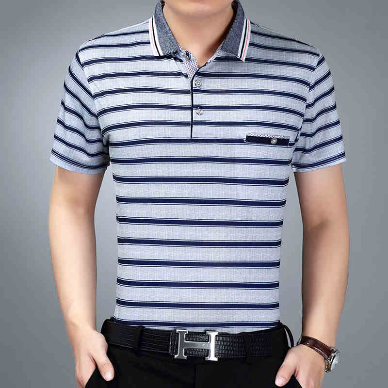 Thoshine Brand Summer Men Striped   Polo   Shirt 97% Viscose Male Fashion Pockets   Polo   Shirts Tees Turn-Down Collar Tops Plus Size