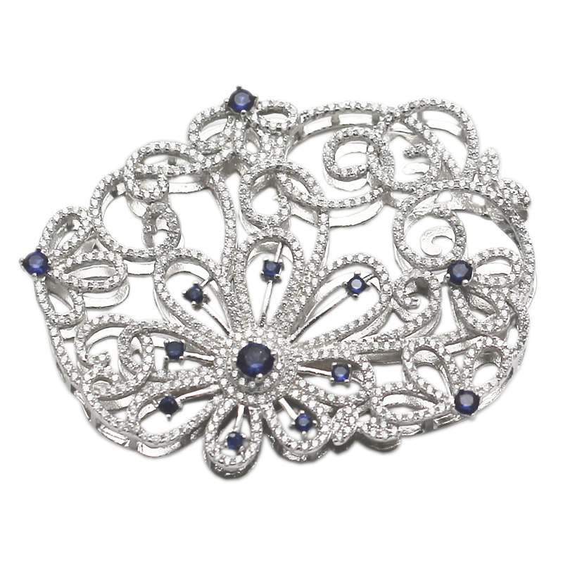 Beadsnice Unique pendentif fleur en argent Sterling avec Zircon Pave composant de bijoux de conception spéciale pour les femmes collier ou Bracelet