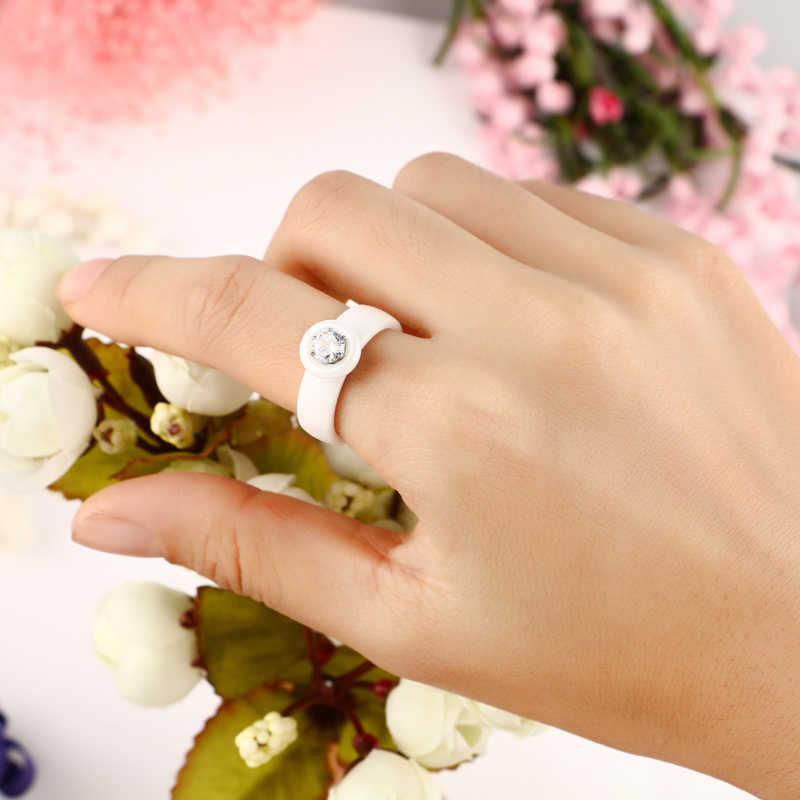 Big กะรัต Rhinestone แหวนต่างหูชุดเครื่องประดับสำหรับสตรี 6 มม.สีขาวเซรามิคแหวนหูเครื่องประดับ