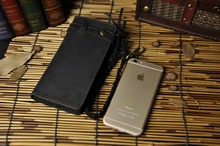 Real leather Design Checkbook Chain Wallet Purse Clutch Handbag For Men