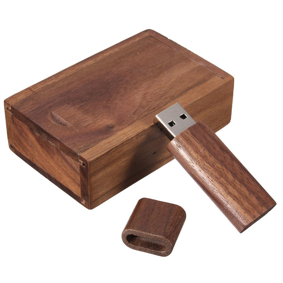 4-32G GB USB 2.0 Flash Pen Drive Storage Wooden Memory Stick U Disk with Wood Case Storage Capacity